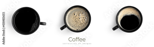 Billede på lærred Espresso in a black cup isolated on a white background. Coffee.