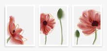 Abstract Art Red Poppy Flower Background Vector. Wall Art Design With Watercolor Art Texture From Floral And Botanical Flower, Botanical Leaves.