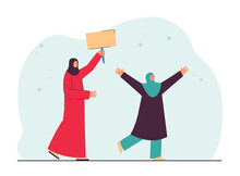 Arab Mom With Tablet And Daughter Raising Their Hands. Women Meeting Friend, Drawing Attention To Themselves Flat Vector Illustration. Search, Appointment Concept
