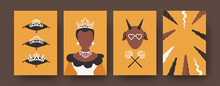 Modern Collection Of Art Posters With Fairytale Characters. Black Princess With Beautiful Shiny Crown And Necklace. Creature With Horns In Sunglasses, Magic Wands. Folklore Concept For Banners