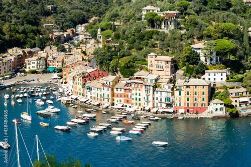 View of Portofino in summer, Genoa, Liguria, Italy #438486465