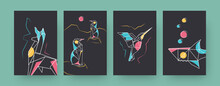 Set Of Contemporary Art Posters With Llama And Shark. Paper Hummingbird, Penguins Vector Illustrations In Pastel Colors. Origami, Hobby Concept For Designs, Social Media, Postcards, Invitation Cards