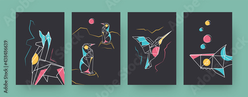 Fototapeta premium Set of contemporary art posters with llama and shark. Paper hummingbird, penguins vector illustrations in pastel colors. Origami, hobby concept for designs, social media, postcards, invitation cards