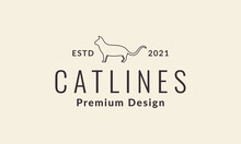 Lines Simple Cat Hipster Logo Vector Icon Illustration Design