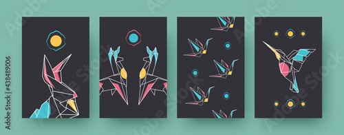 Fototapeta premium Set of contemporary art posters with llamas and cranes. Paper animals, hare, hummingbird pastel vector illustrations. Origami, hobby concept for designs, social media, postcards, invitation cards
