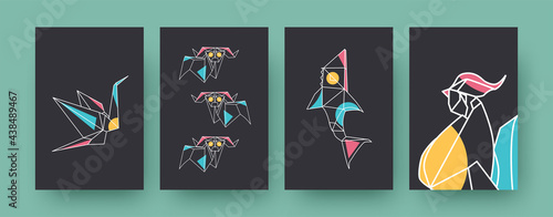 Fototapeta premium Set of contemporary art posters with crane and rams. Paper animals, shark, rooster vector illustrations in pastel colors. Origami, hobby concept for designs, social media, postcards, invitation cards