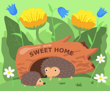Cute Hedgehog Characters Living In Hollow Cartoon Illustration. Adult Spiky Animal And Child In Hole In Tree Trunk, Grass, Daisies, Bluebells, Leaves. Nature, Wildlife, Animals Concept