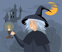 Evil Cartoon Witch Holding Candlestick Vector Illustration. Old Woman In Hat With Burning Candle In Vintage Victorian Holder, Scary Castle At Night In Background. Halloween, Fairytale, Fantasy Concept