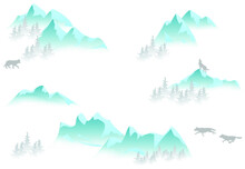 Pattern With Mountains, Snow And Wolves. Vector.