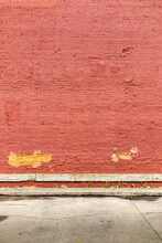 Painted Red Brick Wall With Peeling Paint Grunge Style Vertical