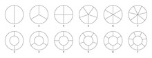 Segment Slice Sign. Wheel Round Diagram Part. Circle Section Graph Line Art. Pie Chart Icon. 2,3,4,5,6,7 Segment Infographic. Five Phase, Six Circular Cycle. Geometric Element. Vector Illustration
