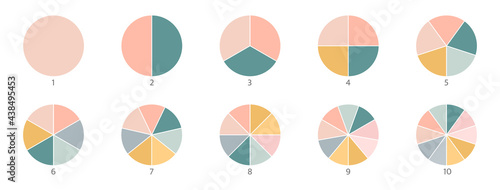 Pie chart color icons. Segment slice sign. Circle section graph. 1,2,3,4,5 segment infographic. Wheel round diagram part symbol. Three phase, six circular cycle. Geometric element. Vector illustration