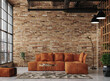 Leinwandbild Motiv Living room interior in loft, industrial style, 3d render