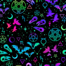 Witchcraft Seamless Pattern With Different Magic Elements And Animals