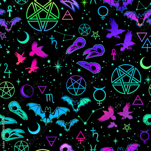 witchcraft seamless pattern with different magic elements and animals Fototapet
