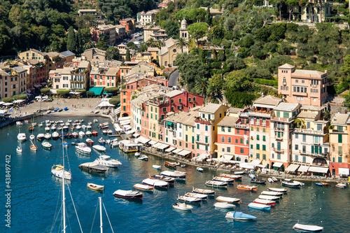Portofino harbour in summer, Genoa, Italy #438497412