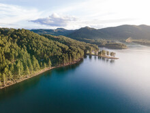 Aerial View Of Pactola Lake In The Black Hills Of South Dakota At Golden Hour