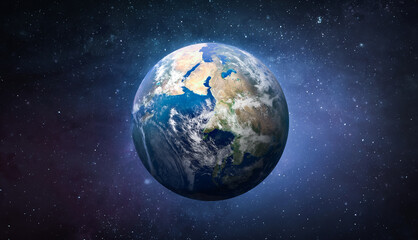 Planet Earth globe in the space, Blue ocean and continents. Elements of this image furnished by NASA