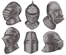 Medieval Knight Helmets. Design Set. Hand Drawn Engraving. Editable Vector Vintage Illustration. Isolated On White Background. 8 EPS