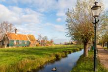 Traditional Dutch Wooden Houses In Zaanse Schans Village Near Amsterdam.
