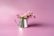 Beautiful Spring Bouquet Of Lilacs In A Vase On A Purple Background White Beautiful Floral Composition