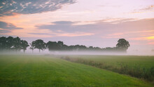Early Morning Ground Fog In The Countryside.