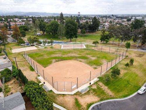 Fototapeta premium Aerial view of baseball fields in community park, Placentia, California, USA