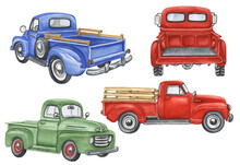 Watercolor Trucks Clipart. Retro Car Illustration. Farmhouse Transport On White Background. Red Truck Clipart. Hand Drawn Vintage Car.