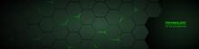 Dark Green Horizontal Hexagonal Technology Abstract Vector Background. Green Bright Energy Flashes Under Hexagon In Futuristic Modern Technology Wide Banner. Dark Tech Honeycomb Texture Grid.