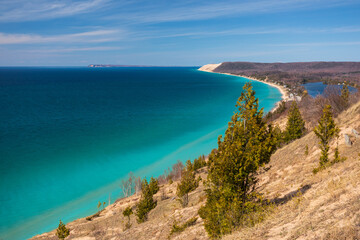 Crystal clear blue waters of Lake Michigan along the Sleeping Bear Dunes National Lakeshore.