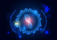 Futuristic Technology Concept, Vector Illustration In Blue Color, Abstract Background, Glowing DNA Spiral
