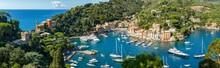 Panoramic View Of Portofino In Summer, Genoa, Italy