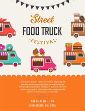 Food Truck Fair, Night Market, Summer Fest, Food And Music Street Fair, Family Festival Poster And Banner