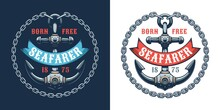 Anchor Retro Logo With Chain And Ribbon. Seafarer Vintage Emblem With Anchor. Vector Illustaration.