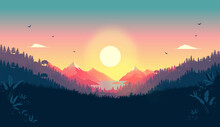 Beautiful Vector Landscape With Sunrise -  Early Morning In Nature With Colourful View To Mountains, Forest, Sun And Red Sky.
