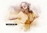 Artistic Watercolor Photo Effect Mockup