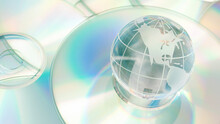 Global Digital Cyberspace, Innovative Worldwide Information Security And Big Data Connectivity Concept With Glass Earth Globe And Compact Disc Stack With Copy Space