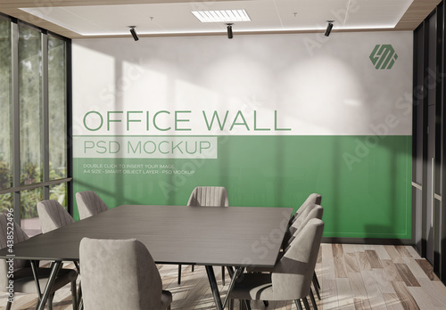 Wall Mural Mockup in Sunny Workplace Office Interior