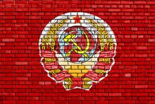 Flag Of Soviet Union 1922-1923 Painted On Brick Wall