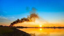 Pollution In The Air After Farmers Burned The Sugar Cane Trees