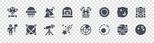 Space Glyph Icons On Transparent Background. Quality Vector Set Such As Full Moon, Orbit, Shooting Star, Astronaut, Moon Craters, Satellite Dish, Space Capsule, Ufo