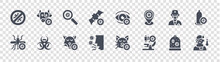 Virus Transmission Glyph Glyph Icons On Transparent Background. Quality Vector Set Such As Fever, Microscope, Cough, Mosquito, Doctor, Search, Eye, Cow