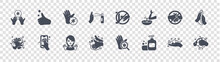 Wash Your Hands Glyph Icons On Transparent Background. Quality Vector Set Such As Hand Washing, Soap, Hand Washing, Hand Washing, Do Not Touch, Cleaning, Do Not Touch, Thumb Up