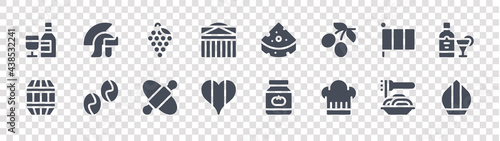 Fotografia italy glyph icons on transparent background
