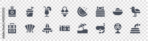 Fotografering summer glyph icons on transparent background