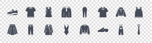 Clothes And Outfit Glyph Icons On Transparent Background. Quality Vector Set Such As Tie, Shoe, Swimsuit, Skirt, Hood, Dress, Leggings, Tshirt