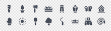 Landscaping Equipment Glyph Icons On Transparent Background. Quality Vector Set Such As Water Pipe, Sprinkler, Tree, Gloves, Butterfly, Axe, Trousers, Plant Pot