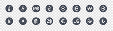 Currency Glyph Icons On Transparent Background. Quality Vector Set Such As Turkish Lira, Dollar, Dollar, Chinese Yuan, Won, Brazilian Real, Dollar, Riel