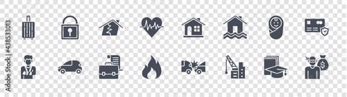 Fotografie, Obraz insurance glyph icons on transparent background