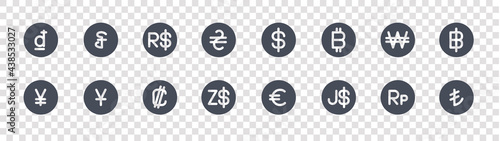 Fotografija currency glyph icons on transparent background